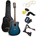Martin Smith Premium Acoustic Guitar Kit With Guitar Tuner, Guitar Bag, Guitar Stand, Guitar Strings, Plectrums & Holder - Blue