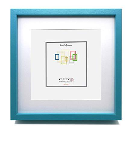 Chely Intermarket, Marcos de Fotos 30X30 cm (Medida Interior con paspartú 20x20cm) MOD-351(Azul) | Paspartú para Foto Incluida | El Marco Queda al Nivel de la Pared