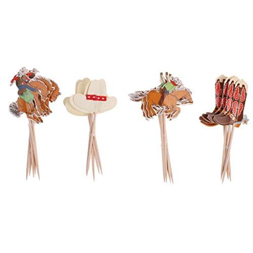 Fenteer Niedlich Deko-Picker Partypicker - Deko für Cupcakes und Muffins - Dekopicker aus Holz und Papier- 24 Stück - Cowboy, 24 Stück