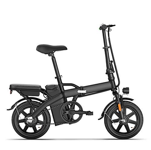 Adulto Bicicleta Plegable eléctrica, batería de Litio de 48V Acero de Alto Carbono pequeña Bicicleta eléctrica, 14inch Mujeres Mini City E-Bikes,Negro,55KM