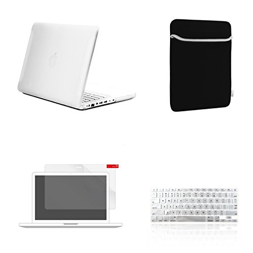 """TOP CASE - 4 in 1 Essential Bundle Matte Hard Case, Sleeve, Keyboard Cover, Screen Protector Compatible MacBook White 13"""" (A1342/Latest)- Matte Clear"""
