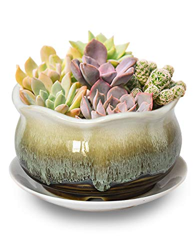 Dahlia 5.5'' Inch Rustic Drip Glazed Ceramic Planter/Succulent Pot/Plant Pot, Brown