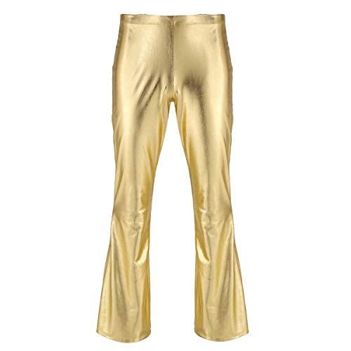 YiZYiF Herren Wetlook Metallic Schlaghose Glänzend Leder Hose Slim fit 70er Jahre Retro Hippie Hose Disco Tanz Party Karneval Fasching Outfit Gold Large