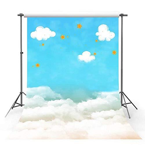 Fondos fotográficos Fondo de fotografía Nubes de cumpleaños Estrellas Blancas Estrella Dorada Decoración Azul para Estudio fotográfico Estudio fotográfico-10x6.5FT
