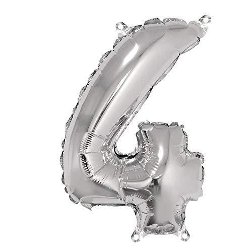 Rayher 87036606 Zahl 4 Party-/Folienballon, silber, 40cm hoch, zum Befüllen mit Luft, für Geburtstag, Silverster, Jubiläum
