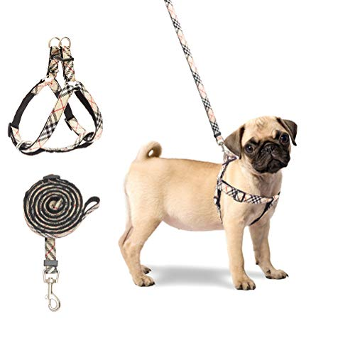 BINGPET No Pull Dog Harness and Leash – Step in Puppy Harness with Leash Set for Small Dogs (Plaid)