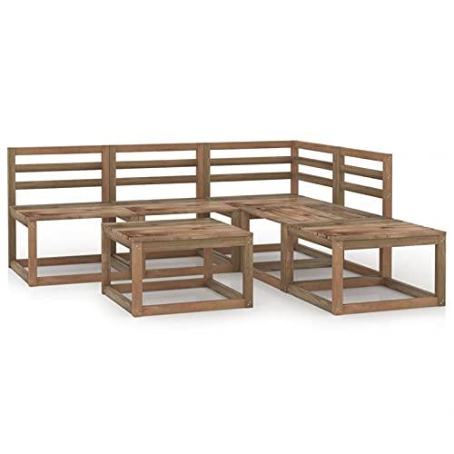 Susany Muebles de jardín 6 pzas Cojines Madera Pino impregnada marrón 9# Sofás Palets Conjuntos Sofa Exterior Patio