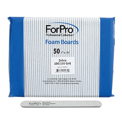 ForPro Professional Collection Zebra Foam Board, 100/180 Grit, Double-Sided Manicure Nail File, Black, 50 Count