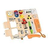 Vogvigo Busy Board 20 en 1 Juguetes Montessori para NiñOs PequeñOs Juguete de Tablero de pestillos Tablero Sensorial Juguetes Educativos De Aprendizaje Temprano Desbloqueo De Cordones De Zapatos