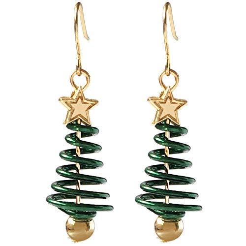 Ruluti 1 Pair Christmas Tree Earrings Christmas Dangle Drop Earring Party Jewelry Women Xmas Gift