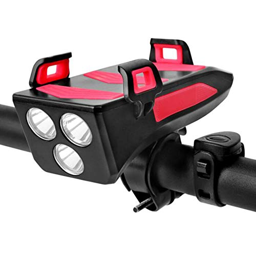 LCHENX-Soporte Movil Bicicleta con Faro, Luz Delantera de Bicicleta LED Recargable USB, Luz de Ciclo Súper Brillante a Prueba de Agua, Antorcha de Cabeza Delantera de Ciclo para Ciclismo,Rojo