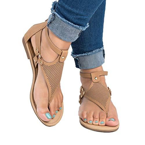 Women's T-Strap Flat Sandal Summer Roman Open Toe Beach Bohemia Ankle High Zipper Toepost Sandals (US:10.0, Brown)
