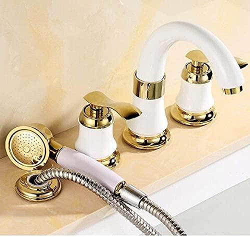 Grifo 8 & quot; Spread fría caliente lavabo grifo latón blanco y oro fregadero 2 manijas fregadero mezclador 3 unids cubierta estilo montado 1 estilo_5
