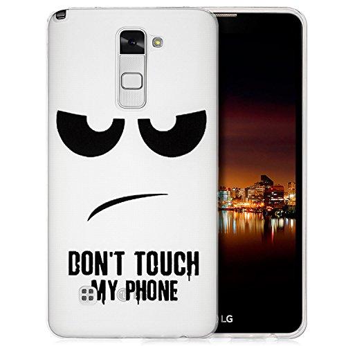 Preisvergleich Produktbild Saxonia Hülle kompatibel mit LG Stylus 2 Silikon Case Schutzhülle Ultra Slim Back Cover mit Motiv Dont Touch My Phone Transparent