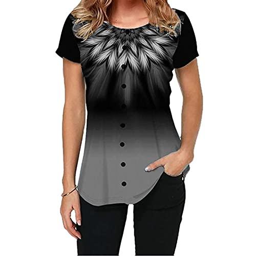 Elesoon Camiseta de verano para mujer, talla grande, bohemio, étnico, tribal, estampado de cachemira, manga corta, suelta, con cuello en O, A-feather Grey, 42