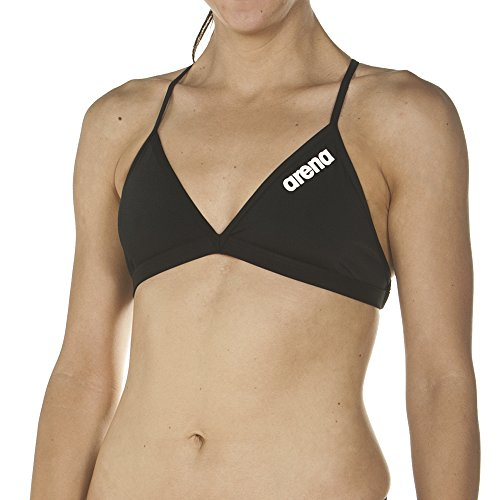 arena Damen Profi Trainings Bikinioberteil Solid (Schnelltrocknend, UV-Schutz UPF 50+, Chlorresistent), Black-White (55), 38