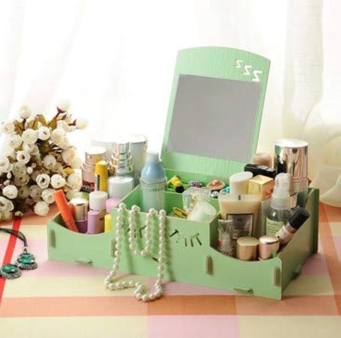 倫理的悪夢小競り合いスマイリー木製クリエイティブ収納ボックス手作りデスクトップミラー化粧品収納ボックス化粧品収納ボックス (Color : グリンー)