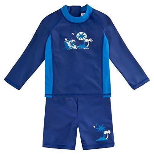 Landora®: Baby- / Kinder-Badebekleidung langärmliges UV-Schutz 2er Set in Marine, Größe 110/116
