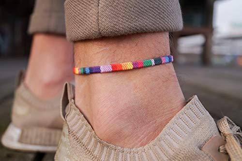 Pride Surfer Anklet Men or Women - Boho Ankle Bracelet - Handmade Festival Jewelry Accessories - LGBT Gay Lesbian Bisexual Bi Transgender - 100% Waterproof and Adjustable - (Rainbow)