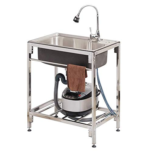 Cushion Heavy-Duty Stainless Steel Commercial Sink with Brackets & Faucet, Utility Sink Kitchen Sink, Movable Freestanding Sink for Laundry Backyard Garage Basement