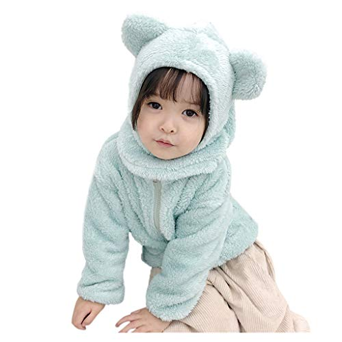NUSGEAR Baby Mädchen Mäntel Winter Warm Kleidung Daunenmantel Kinder Bärenohren Volltonfarbe Tasche Pelzjacke + Hut Set,Kinder Jacken Dicke Coat Wolljacke Fleece