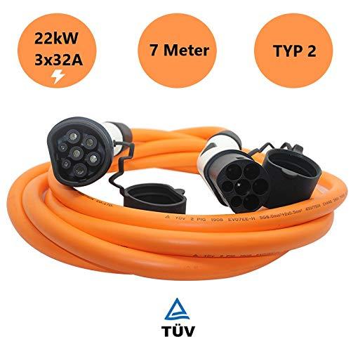 Typ 2 Ladekabel für EV/Elektroauto | 32A | 22kW | 3 Phasig | 7 Meter