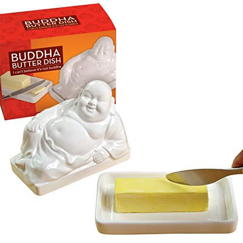 Preis am Stiel Butterdose ''Buddha'' - Weiß | Küchenhelfer | Lebensmittel Aufbewahrung | Küchenzubehör | Küchen Aufbewahrung | Buddha Figur klein | Buddha Deko