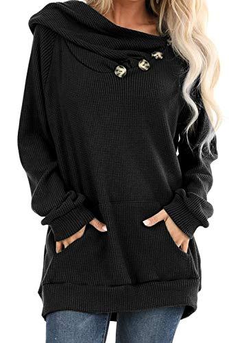 Ancapelion Damen Hoodie Gestrickt Pulli Pullover Langarm Oberteile Einfarbig Sweater Tunika Top mit Knopf Tasche,Schwarz,M