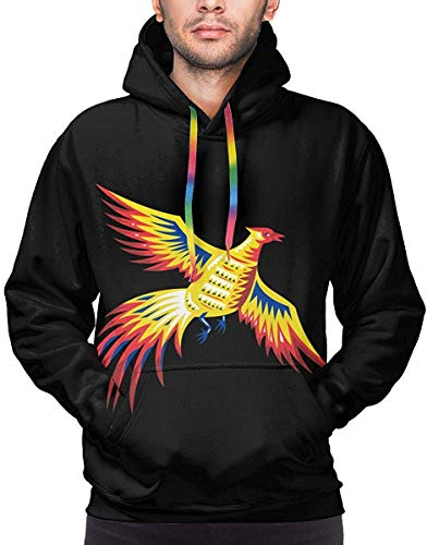 not applicable Fasan Vogel Geflügel fliegen Retro Männer Hoodies Langarm Pullover Sweatshirts Mantel mit Tasche
