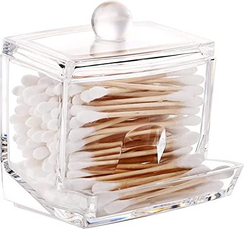 Recet Kosmetik Aufbewahrungsbox Acryl Wattepads Aufbewahrung, Wattestäbchen Spender Cotton Wattepads Behälter Box Make-up Kosmetik Halter Organizer mit Deckel, Transparent (B)