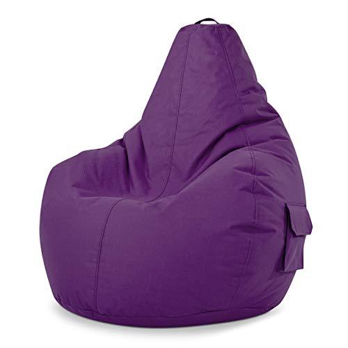 Green Bean © Cozy Beanbag, Gaming Sitzsack Sessel 80x70x90 cm, 230 Liter EPS Perlen Füllung, Indoor Gamingstuhl & Outdoor Gamer Sitzkissen, Bean Bag Lounge Chair für Kinder & Erwachsene, Lila