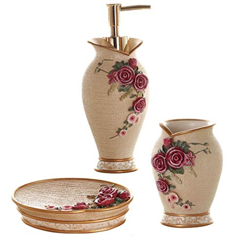 Glarcy Bathroom Accessories Set Completes - Soap Dispenser, Tumbler/Toothbrush Holder, and Vanity Tray - Luxury Hand Painted Decor