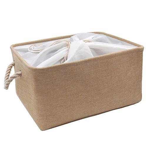 Mangata Caja de Almacenamiento de Tela, Cesta de Almacenamiento de Lona Engrosada Plegable con Asas de Cuerda para Ropa, Juguetes (Beige, Xxlarge)