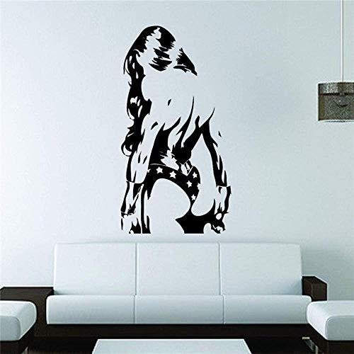 Pegatinas de pared para decoración del hogar, papel tapiz, Mural, calcomanía, pegatina, Comic Girl, película, cita, arte, habitación familiar, calcomanía 58x31cm