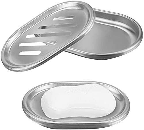 Zeryu Soap box detergent holder bath and shower are made of stainless steel, durable and durable (13 x 9.8 x 2 cm)