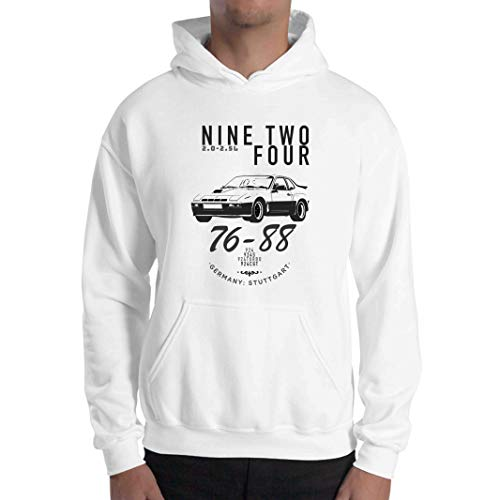 Porsche 924 Hoodie, 924 Hoodie, Porsche 924 Kapuzen-Sweatshirt, 924 Hoodie für Ihn, Porsche 924 - Weiß - XXX-Large