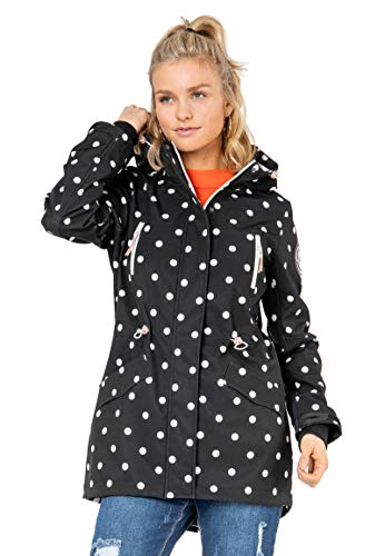 Sublevel Damen Softshell-Jacke Kurzmantel mit Kapuze & Print Black-White M