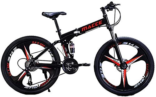 JZTOL 26 Pulgadas Bicicleta De Montaña Bicicletas Plegables Crucero Bicicletas con 21 Velocidades, Frenos De Disco Doble Suspensión Completa, Rueda De Tres Cuchillos para Adultos Hombres Y Mujeres