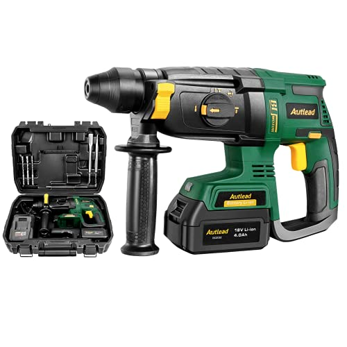 Brushless Hammer Drill Cordless, 18V Rotary Hammer 5300Rpm, 10mm SDS-Plus Chuck &4.0Ah Battery Drill, 4 in 1 SDS Drill 2.8J Impact Energy, 360°Adjustable Handle 2 Hours Fast Charge AUTLEAD DCZC02