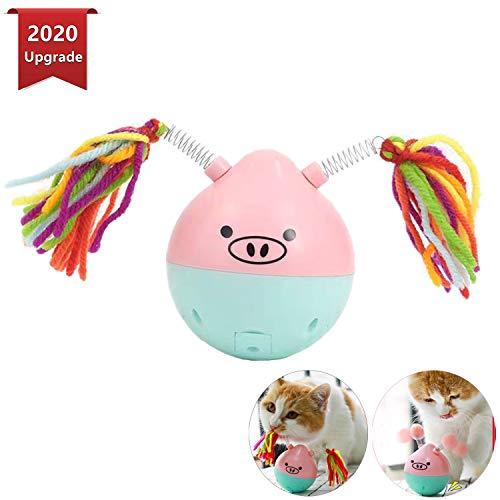 PETTOM interaktives Katzenspielzeug Katzenball, Elektrisch Katzenspielzeug Ball interaktives Spielzeug für Katzen, Tumbler selbstdrehender 180-Grad-Ball, mit 2 Sätze Ersatzkopf (inklusive Batterie)