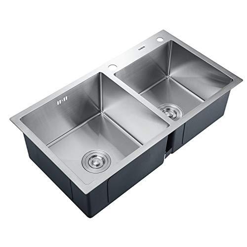 KAIBOR Edelstahl Doppelbecken Küchenspüle mit Siphon Ablaufgarnitur für 80cm Unterschränke küche eckige Einbauspüle, Edelstahlspüle 2 Becken, Einbau Spüle Spülebecken, groß Flächenbündig 78x43CM