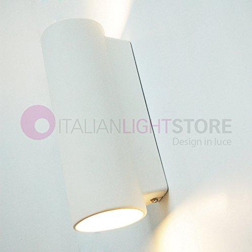 CILINDRO Applique Lampada da Parete Faretto Doppia Emissione 2X E14 Up Down Decorabile In Ceramica Gesso Colorabile Verniciabile- Illuminazione Interni
