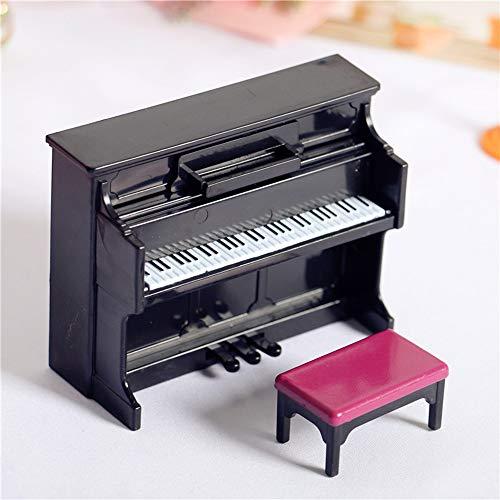 witgift Miniatur Schwarze Klavier & Hocker Simulative Piano Modell Puppenhaus Dekoration Zubehör Mini Ornament Haus Garten Möbel Deko