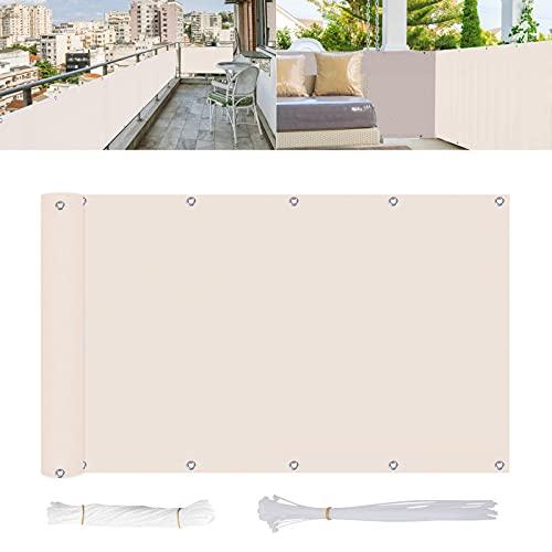 Joyhoop frangivista balcone Bianco, copertura balcone, Frangivista Giardino,HDPE,Densità 185 g ㎡, Protezione UV dal Vento per Balcone Piscina terrazza Impermeabile, con Corde e Fascetta 90*500cm