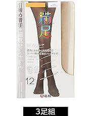 (マンゾク)MANZOKU 3足組 140-2811 着圧 細魅せ シャドウ編み サポート ストッキング
