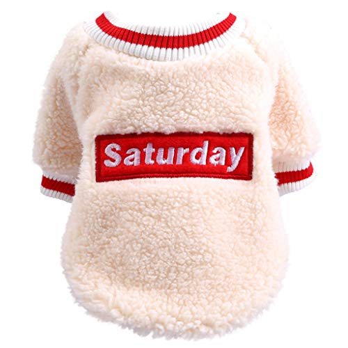 Pet Velvet T-Shirt, Dog Costume for Small/Medium/Large Dogs, Winter Warm Fashion Cute Clothing for Puppy & Kitten, Soft Comfortable Pet Clothes, Cat Puppy Winter Apparel, Pet Supplies (S, Beige)