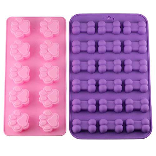 2 unids/set Cachorro Perro Pata y Hueso Bandejas de Hielo de Silicona Pet Treat Moldes Jabón Chocolate Jelly Candy Molde Decoración Moldes para Hornear