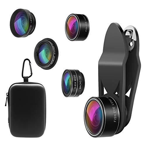 【2020 NEW】ORIA 5 in 1 Clip-On Handy Objektiv Kit, Professionel CPL Zirkular Polarisiert Len + 2X Teleobjektiv + 0.63X Weitwinkelobjektiv + 15X Makro Objektiv + 198°Fisheye Objektiv für Smartphones