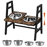 FavePaw Pet Bowls, Adjustable Raised Bowls for Dogs and Cats with 4 Stainless Steel Bowls and 0-15°Adjustable Platform, Stable Elevated Dog Feeders with Anti-Slip Feet and Noise Preventing Bulges
