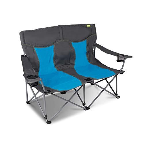 XXL Campingsofa mit 240 KG Tragkraft | 2 Getränkehalter | Doppel-Campingstuhl im Lounge-Charakter für EXTREMEN Komfort | Minimales Gewicht | für 2 Personen (Campingsofa Grau-Blau)